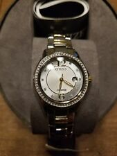 NIB Citizen Eco-Drive Women's Two-Tone Watch with Swarovsky Crystals Accent