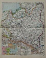 Landkarte von Polen, Polska, Warschau, Lemberg, Lodz, Meyer Leipzig 1928