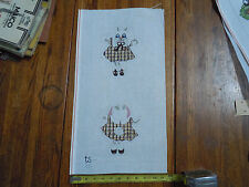 Discounted Hand Painted Needle Point Canvas Plaid Dress Bunny Front & Back Theme