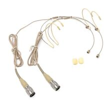 2(Pair) Double Earhook Headset Microphone w/ 4 pin mini Xlr for Audio Technica