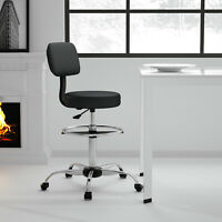 Bar/Spa/Salon/Drafting Stool With Back and Foot Rest Rolling Swivel Chair Black
