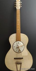 Vintage Crackle Finish Guitar Wall Clock Hand Crafted In USA  One Of A Kind Work