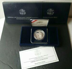 1997 P Proof $1 National Law Enforcement Memorial Commemorative Silver Dollar