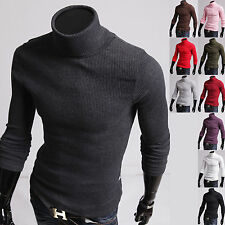 Mens New Fashion Luxury Slim Knit Turtle Neck Sweater Long Sleeve Top E9372 S/M