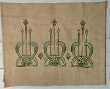 Great Arts & Crafts Embroidered Linen Panel With Painted Highlights