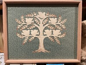 """Vintage 1980's Tree of Life Scherensnitte Paper Cutting  11.5"""" X 14.5"""" Framed"""