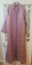 Stunning Handmade Moroccan Takshita Kaftan Dress Violet with gold Embroidery New