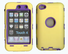 Best Protection Case / Cover for iPOD TOUCH 4 YELLOW / PURPLE Free Stylus!!!