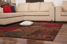 Moderne Teppiche Patchwork Flachflor NEU Sonderangebot Rot Braun160x230