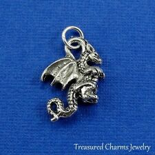 Silver DRAGON CHARM Fire breathing Medieval Fantasy 3D PENDANT *NEW*