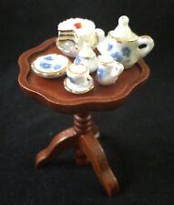 Reutter Dollhouse Miniature Occasional Table with Mini Tea Set