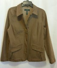 RAPLH LAUREN JEANS CO LRL Tan Brown Equestrian Riding Fitted Jacket Womens Sz 12