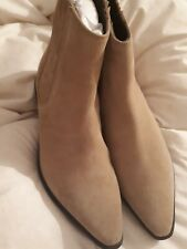 Jigsaw Sand Beige Suede Cowboy Style Ankle Boots Size 4