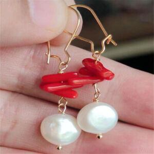 White Baroque Pearl Earring 18k Gold Ear Drop Hook Hoop Flawless Classic Dangle