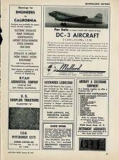 1951 Mallard Aviation Ad Doulgas DC-3 for Sale Teterboro New Jersey C-47 C-53