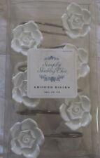 Rachel Ashwell Simply Shabby Chic White Rose Flower Shower Curtain Hooks Htf~Nip