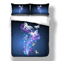Butterfly Blossoms Floral Quilt Doona Duvet Cover Set King Single Queen Size Bed