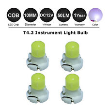 4 X White T4.2 10MM Neo Wedge COB LED Twist Lock LCD Dash Light Bulb for 12V Car