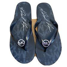 Michael Kors Flip Flop Sandals Black Silver Women's Size 9