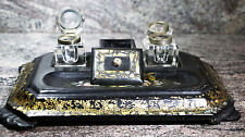 Victorian Paper Mache Inkwell Tray With 2 Original Inkwells