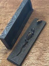 Vintage Box Lizard/Frog Carved Slides Wood Carved Slide Box Vgc