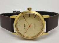 hmt sona gold plated hand winding men's wrist watch made india run order