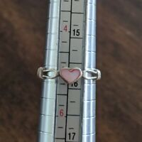 Vintage 925 Sterling Silver Inlay ❤️ Heart Ring Size 5 Estate Handmade