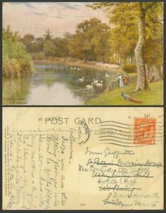 AR Quinton 1918 Old Postcard Hampden Park Eastbourne Swan Peacock Birds Lake 900