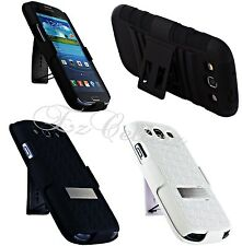 for SAMSUNG GALAXY S3 SIII S III MESH HYBRID CASE COVER SKIN HOLSTER KICKSTAND