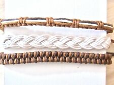 3 BRACELET BROWN CORD ROPE HEMP BRAIDED ADJUST ANKLET WRISTBAND FRIENDSHIP men