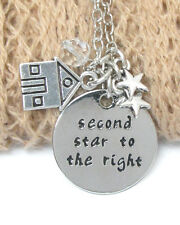 DISNEY SECOND STAR TO THE RIGHT ENGRAVED HAND STAMPED CHARM PETER PAN NECKLACE