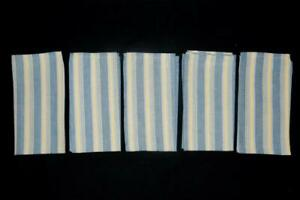 Set Of 5 Park Designs Striped Loomed Napkins Blue Yellow Cotton