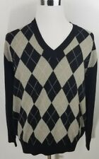 e58d820d44b7 Ben Hogan Golf Argyle V-Neck Sweater 100% Merino Wool black  gray SZ