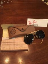 Vintage B&L Ray Ban Aviator Sunglasses Orig Case & Receipt 1996 Gold Green