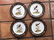 Elizabeth Marshall 4 Bird Plates Black Wreath Motif 12 In