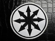 CHAOS  WHITE AND BLACK     EMBROIDERED  PATCH