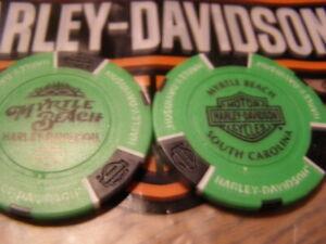 Neon Green & Black Poker Chip Myrtle Beach Harley Davidson, Myrtle Beach, SC