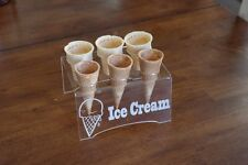 Engraved Acrylic 6 Cone Ice Cream Cone Holder Tray Display Stand Rack Wedding