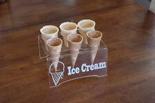 Engraved Acrylic 6 Cone Ice Cream Cone Holder Tray Display Stand Rack Wedding