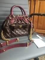 Beautiful MARC JACOBS Quilted Leather Stam Bag - Dark Brown/Deep Purple