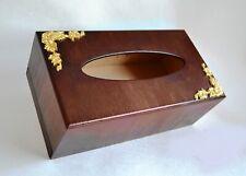 Handmade tissue box cover wood rectangular Kleenex napkin holder Golden decor