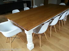 """8,10,12 seater Large Dining Table, Chunky 44mm Planked Pine,width up to 60""""incl."""