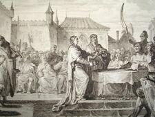GRAVURE XVIIIe / DISPOSITIONS DE PÉPIN CASSÉES PAR LA NATION AN 768