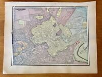 Antique Map of Edinburgh verso Dundee/Glasgow atlas page Gallery Wall Art c1906
