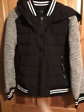 Moose Knuckles  Black Whitee Grey Quilted Hooded Cuffed L