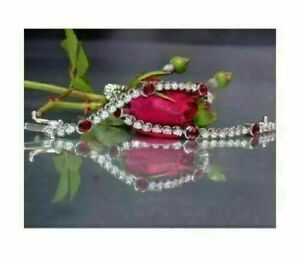 7CT Round Cut Ruby & Diamond With 14K White Gold Over Engagement Tennis Bracelet