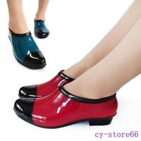 Fashion Womens Color Splice Slip On Low Flats Waterproof Ankle Rain Boots Shoes