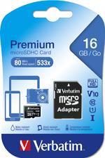 16 GB Verbatim Micro SDHC Memory Card + Adapter Class 10- UK SELLER 100%FEEDBACK