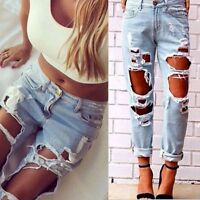 Womens Destroyed Ripped Distressed Big Hole Boyfriend Denim Jeans Pants Trousers