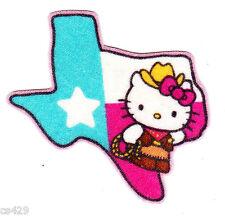 """2.5"""" HELLO KITTY SANRIO STATE OF USA TEXAS FABRIC APPLIQUE IRON ON"""